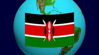 Kenya Flag on the Earth