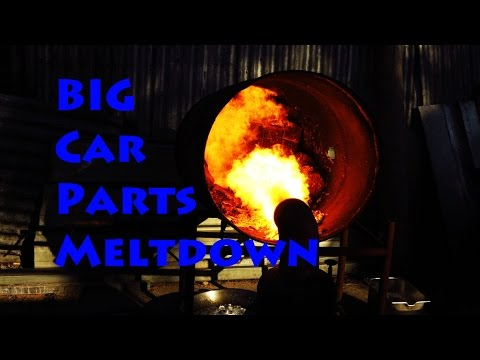 Aluminium car parts melt with oil Burner simple furnace