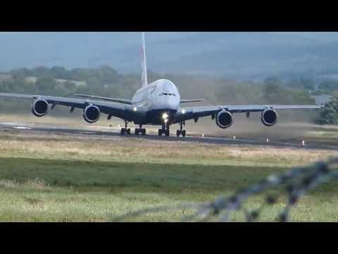 British Airways Super Jumbo Airbus A380 Takeoff at Shannon Airport Ireland