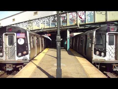 BMT Jamaica/Nassau Line R160A-1 J & M Trains at Myrtle Ave-Broadway (AM Rush Hour)