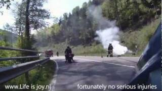 Bayerische Wald Germany opkiktoer on motorbikes High speed with bird crash