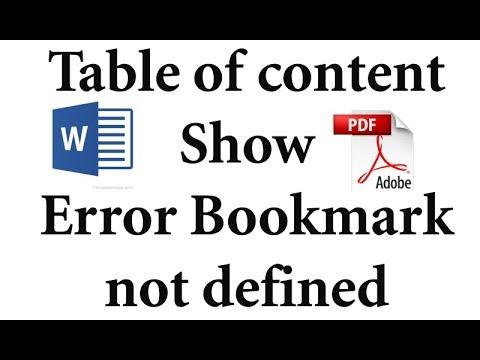 error bookmark not defined pdf mac