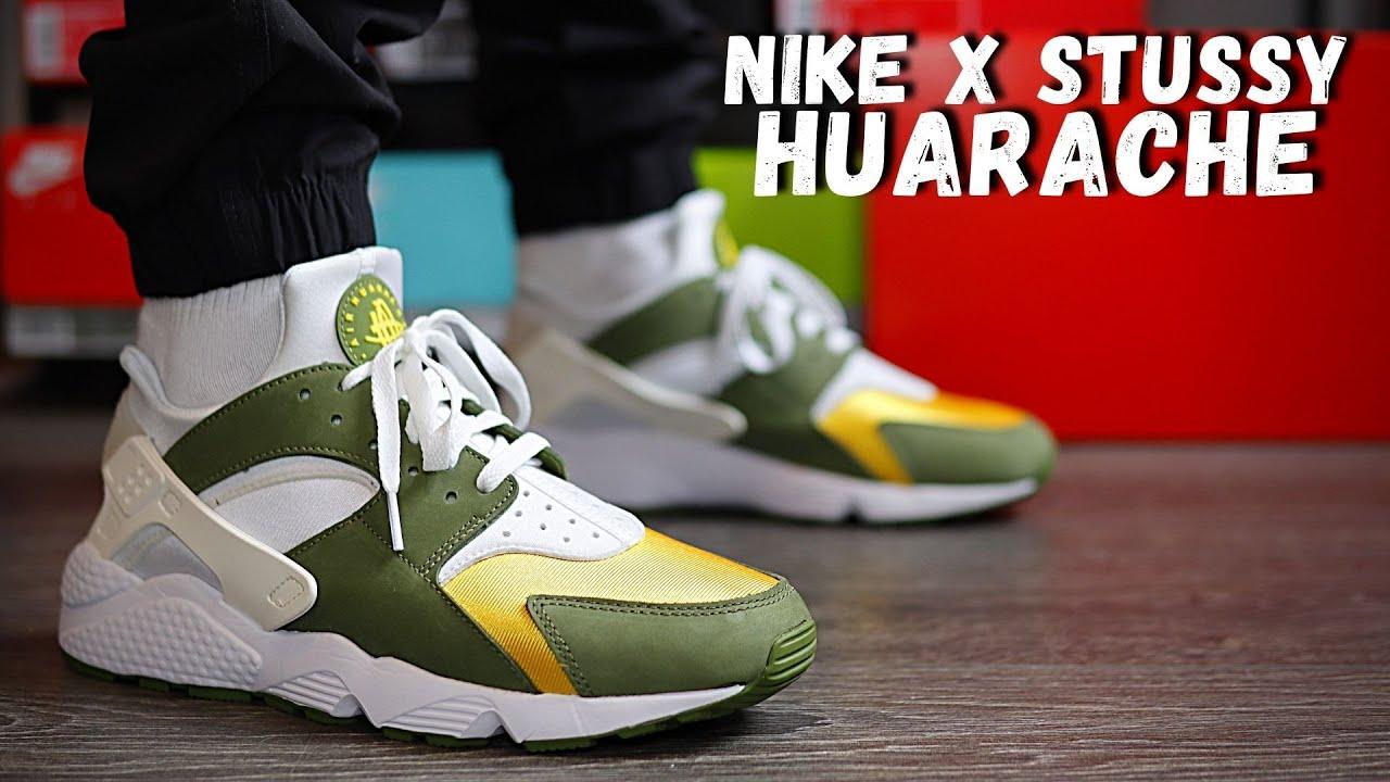 Nike x Stüssy Huarache Dark Olive On Foot Review