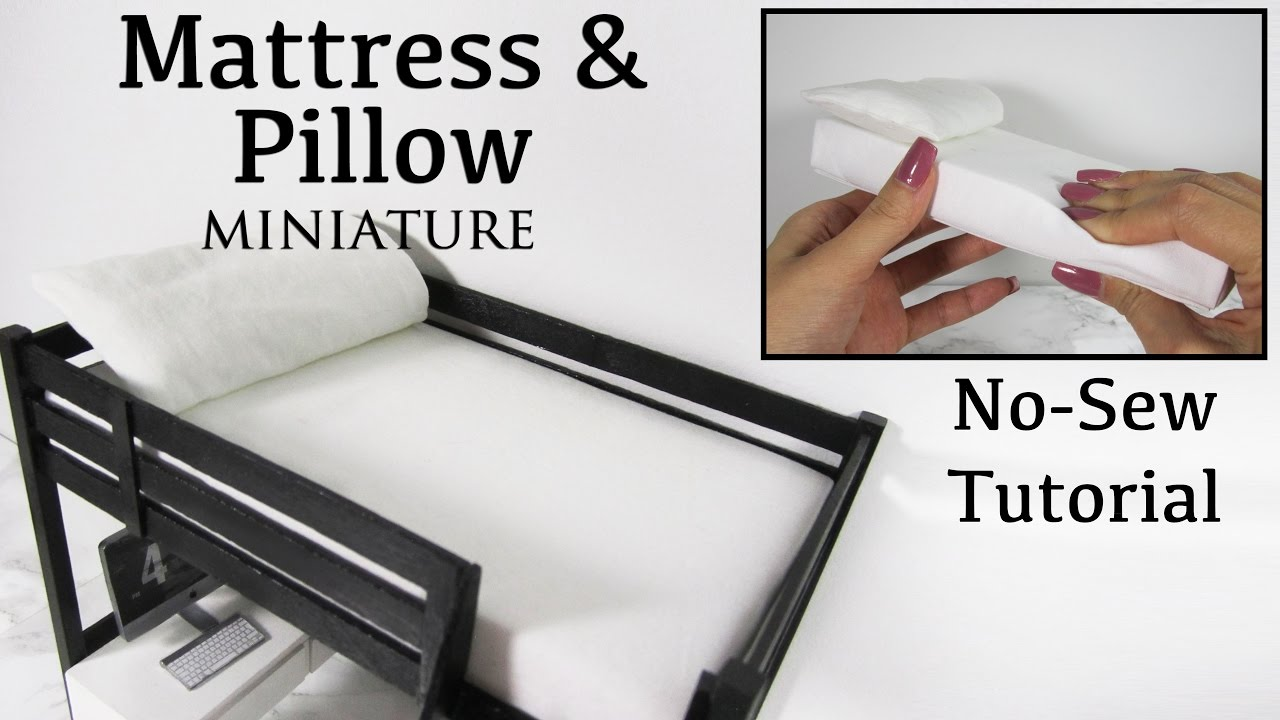 Miniature Doll Mattress and Pillow (No Sew Tutorial)