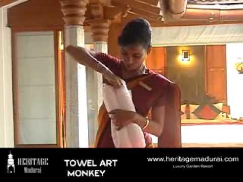 How to make MONKEY in Towel Art   Heritage Madurai