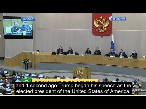 Russian parliament applauds to Trump's victory.
