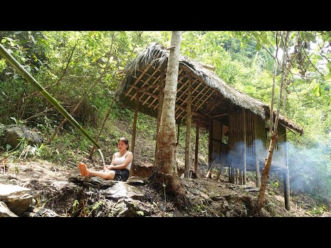 Domestic water supply by bamboo pipe for house TINY - CABIN / Living Off Grid (Ep.11)