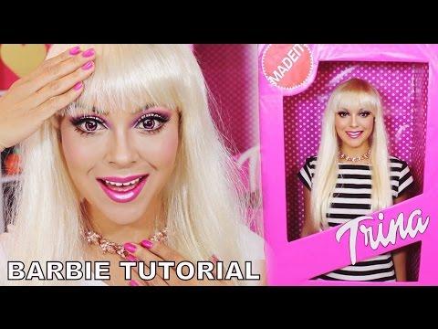 Barbie Makeup Tutorial | Halloween Barbie Box Costume - TrinaDuhra