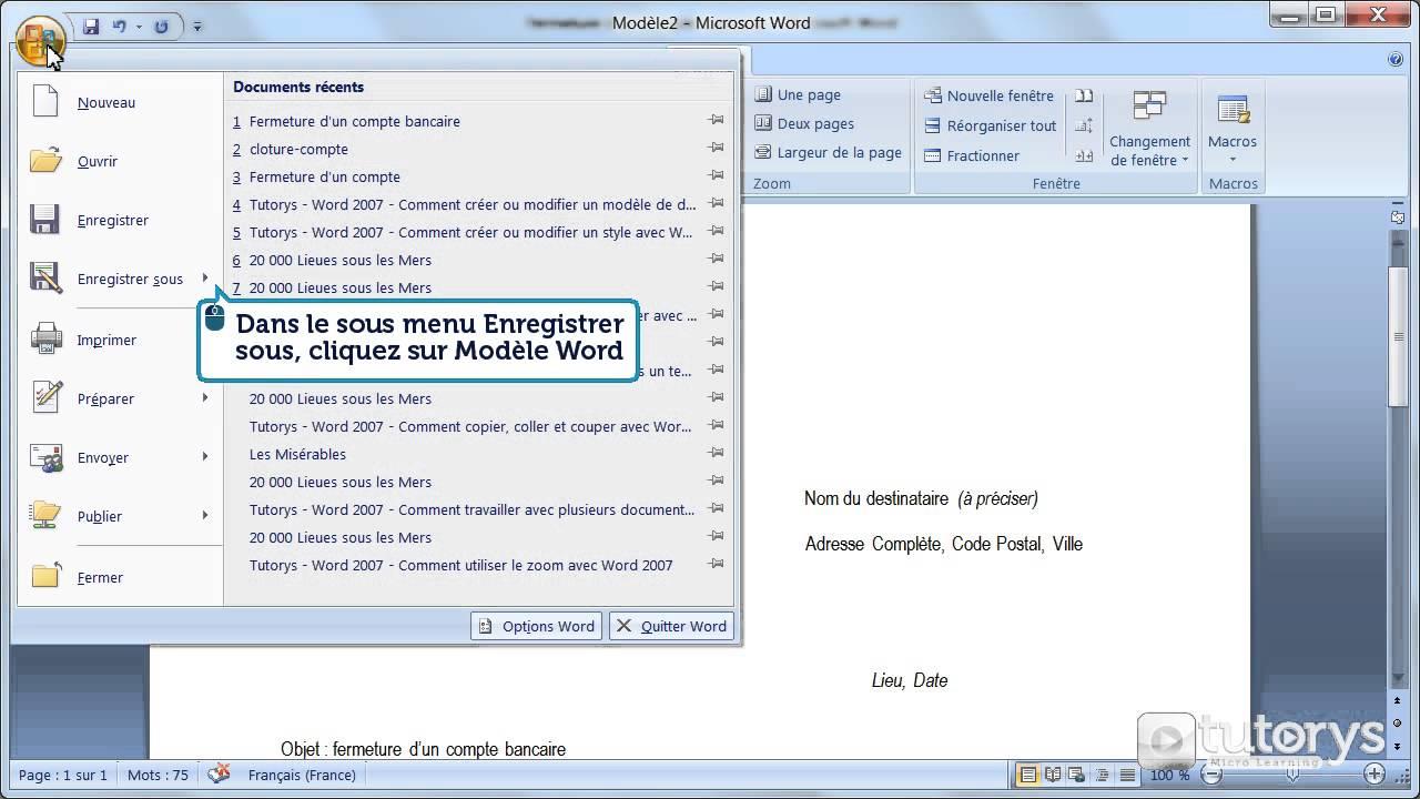 Comment Creer Ou Modifier Un Modele De Document Word 2007 Youtube