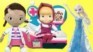 Doctora juguetes y su hospital:Masha y Frozen Elsa visitan a doc mcstuffins. Nuevo video en español