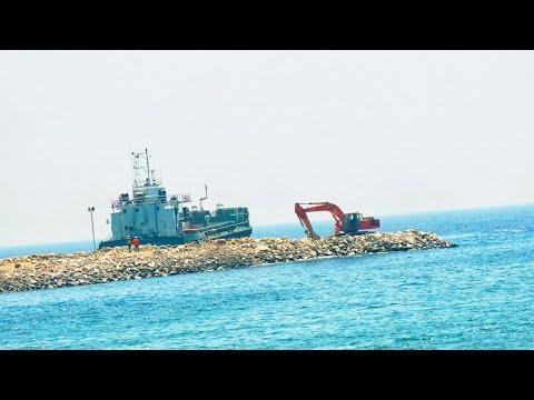 Vizhinjam International seaport Latest update | Breakwater construction using Barges |HD| 13/2/21