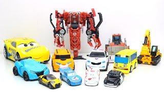 Transformers Stop motion! Excavator Scrapmetal, Bulldozers Rampage & Dinoco Tobot Robot Car vs Hulk!