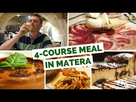 Italian Cuisine - Eating a 4 course meal in Matera, Italy
