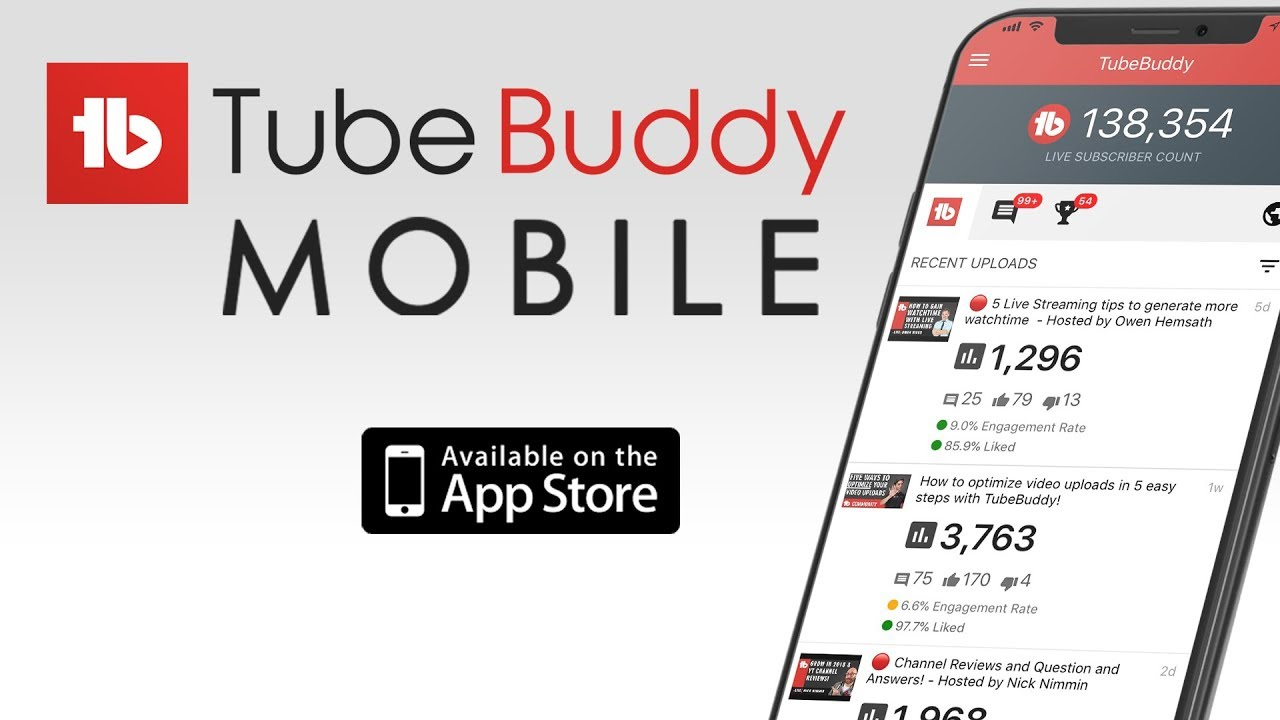 TubeBuddy Mobile - Available on iPhone and Android