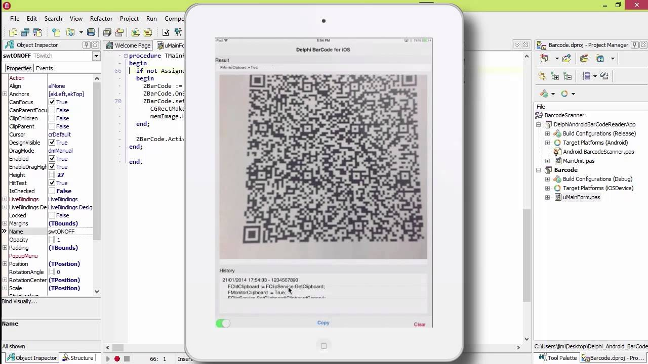 Build A Barcode Scanner App In Delphi Firemonkey For Android And IOS