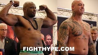 DILLIAN WHYTE FLEXES ON LUCAS BROWNE AT WEIGH-IN AND FINAL FACE OFF; CALM BEFORE THE STORM