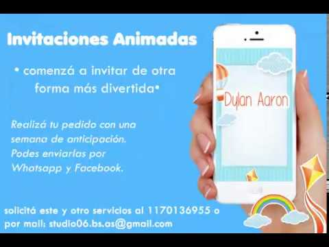 Video Invitacion De Nubes Arcoiris Y Globo Tarjeta Virtual Invitacion Animada Con Musica
