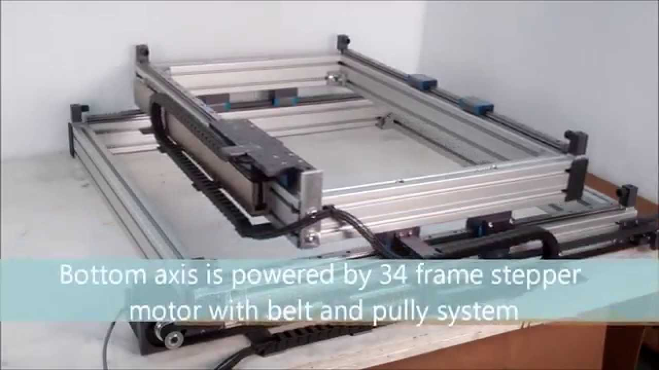 Open framed xy gantry youtube for Table x and y
