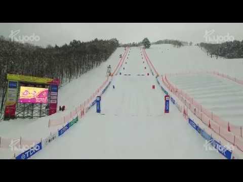 秋田テレビ株式会社様 2017 FIS フリースタイルスキーワールドカップ<br>秋田たざわ湖大会 TV番組用ドローン撮影02
