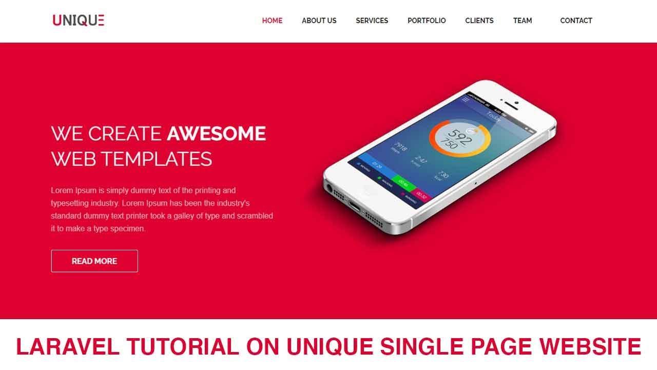 Laravel Tutorial Single page Website Development Part 8