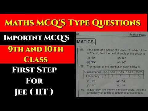 First Step Course For IIT-JEE I Maths MCQ'S For Class 9 and 10 I Maths Most Important MCQ'S Question