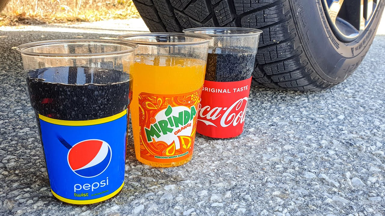 Crushing Crunchy & Soft Things by Car! EXPERIMENT CAR vs PEPSI, MIRINDA, COCA COLA