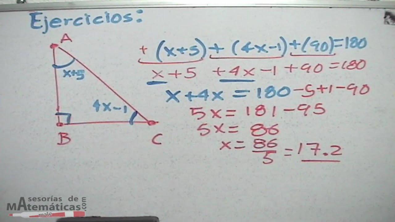 Resolución De ángulos Internos De Un Triángulo Hd Youtube