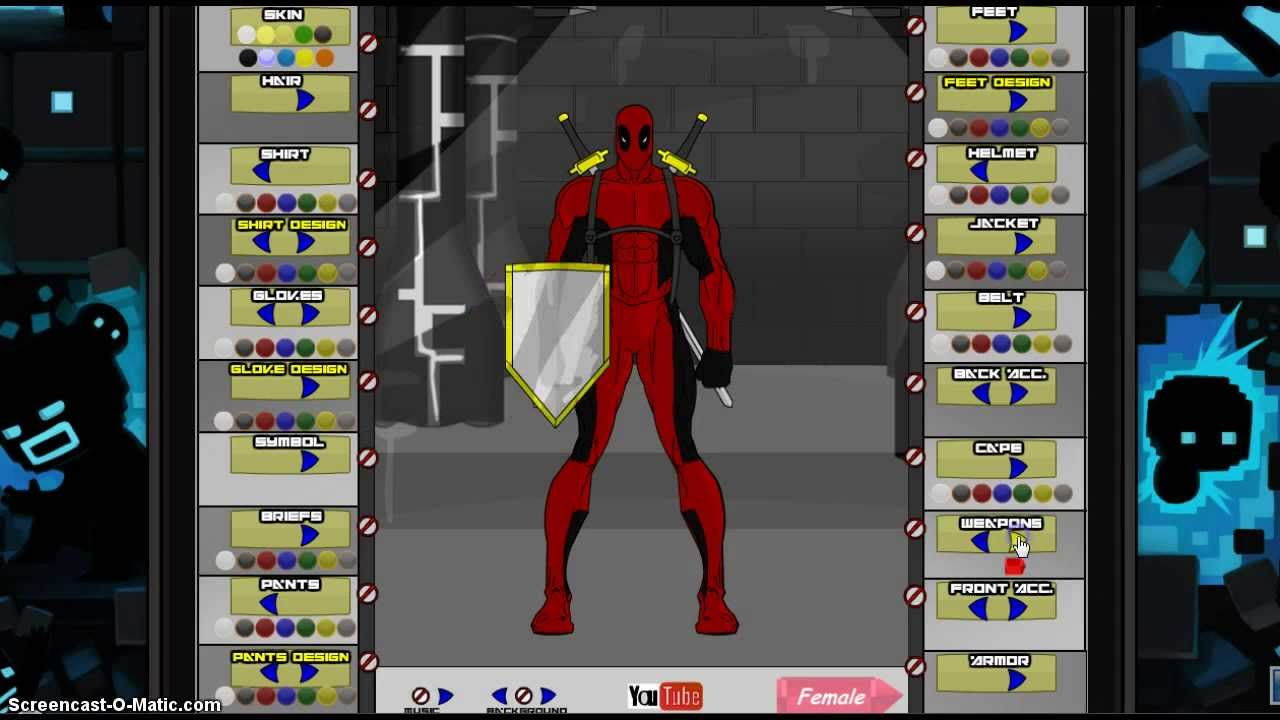 Superhero creator deadpool youtube for 3d creator online