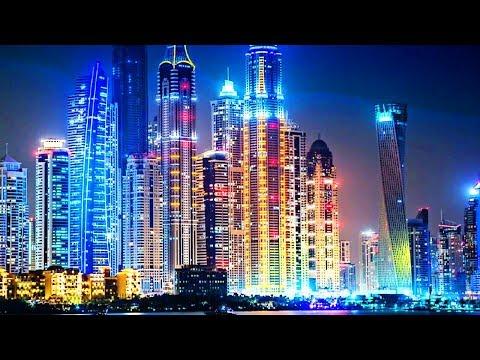 Dubai city at night | Marina mall | Princess tower, Cayan tower, 101 marina | Barsha heights