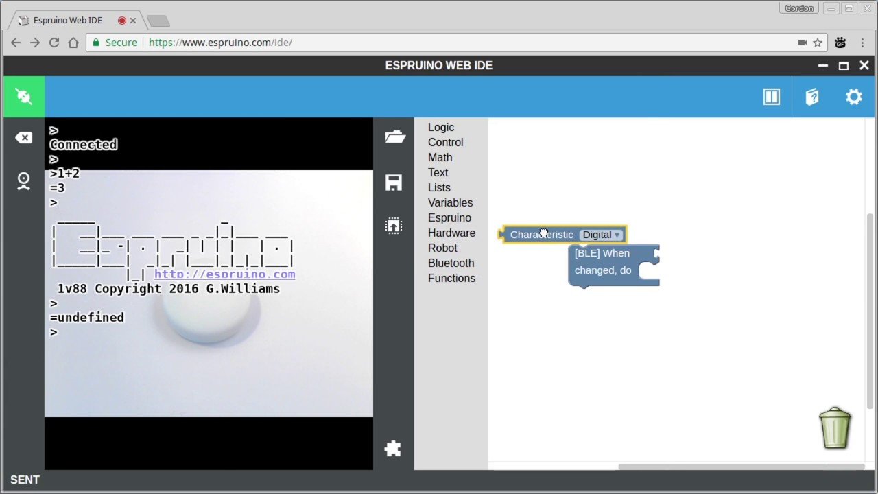 Puck js Bluetooth with Graphical Editor