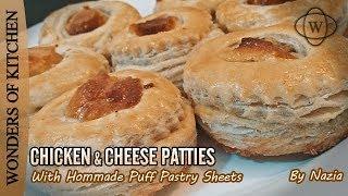 Chicken Patties Recipe With Homemade Dough  Chicken &amp Cheese Patties  Puff Patties Recipe