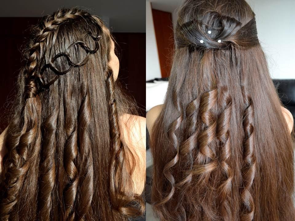 Peinados semirecogido con rizos trenza cadena belleza - Peinados de semirecogido ...