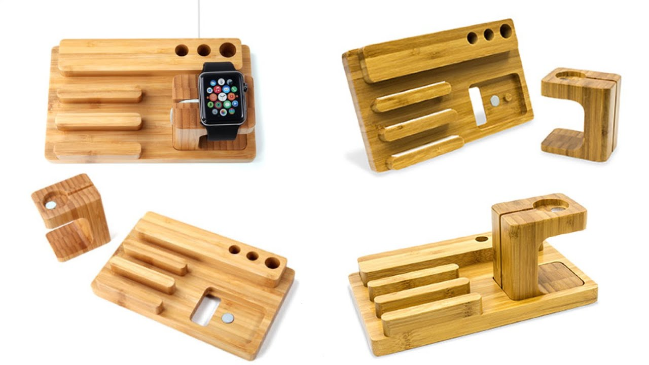 Wooden Charging Dock ~ Olixar charging apple watch wooden desk stand with iphone