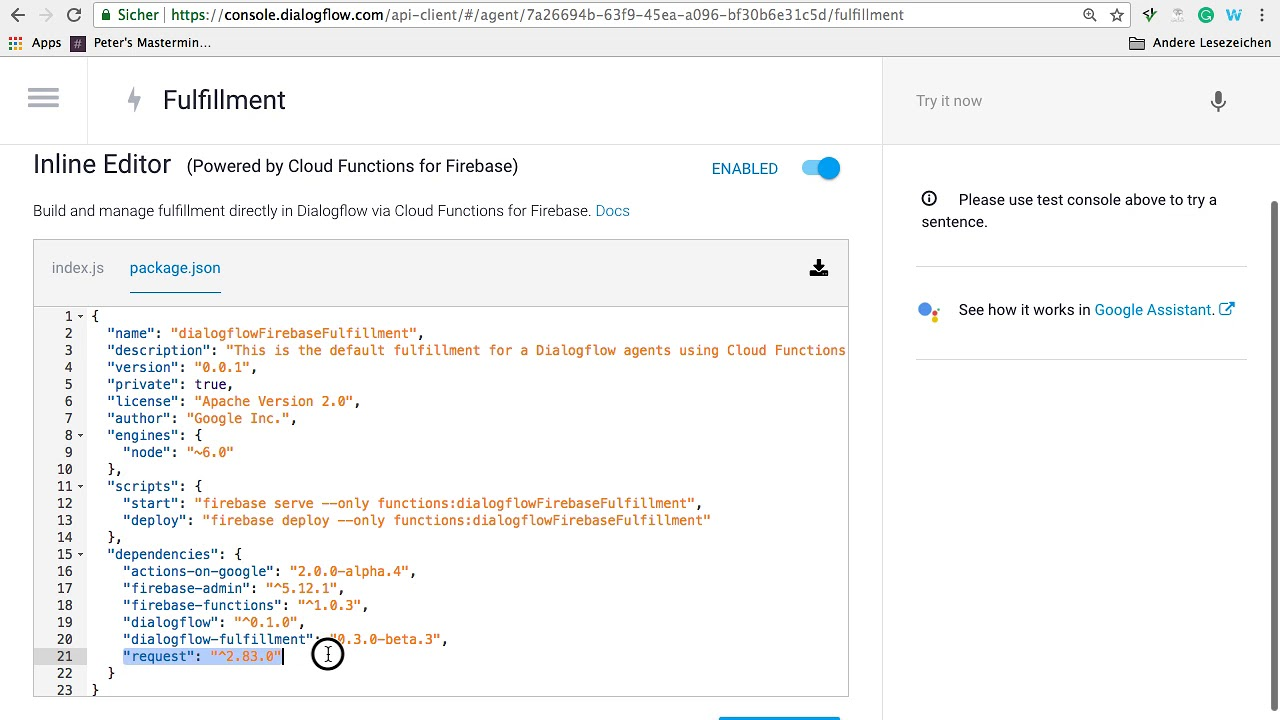 Dialogflow Chatbot - How to Trigger a Slack Message via Webhook from your  Firebase Function