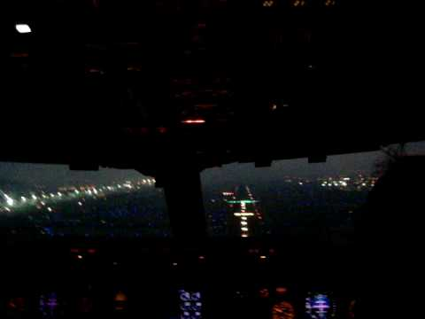 Boeing 767 Approach and Landing Cockpit View Twilight