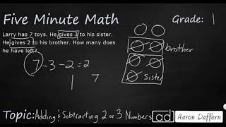1st Grade Math Adding and Subtracting 2 or 3 Numbers