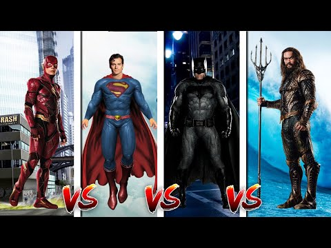 MINECRAFT JUSTICE LEAGUE BATTLE - SUPERMAN vs AQUAMAN vs BATMAN vs THE FLASH!!