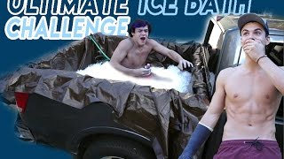 We filled the back of our truck up with 50 bags of ice and water and sat in it until we completed all three challenges... The loser had to go snorkeling.