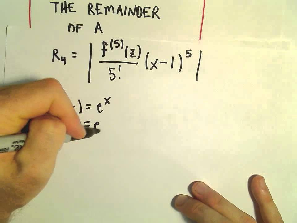 Taylor's Remainder Theorem - Finding the Remainder, Ex 1 - YouTube