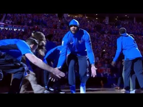 Carmelo Anthony, Paul George's 1st Introduction in OKC - crowd goes crazy!