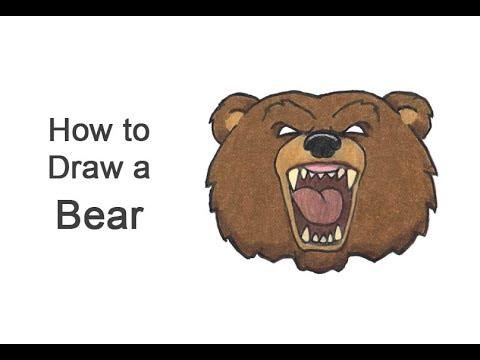How To Draw A Bear Head Roaring (Cartoon)