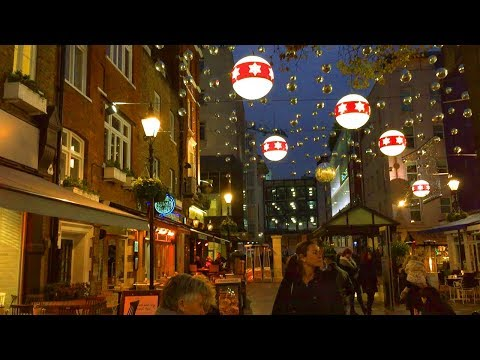 London Walk - ST CHRISTOPHER'S PLACE at Christmas - England, UK