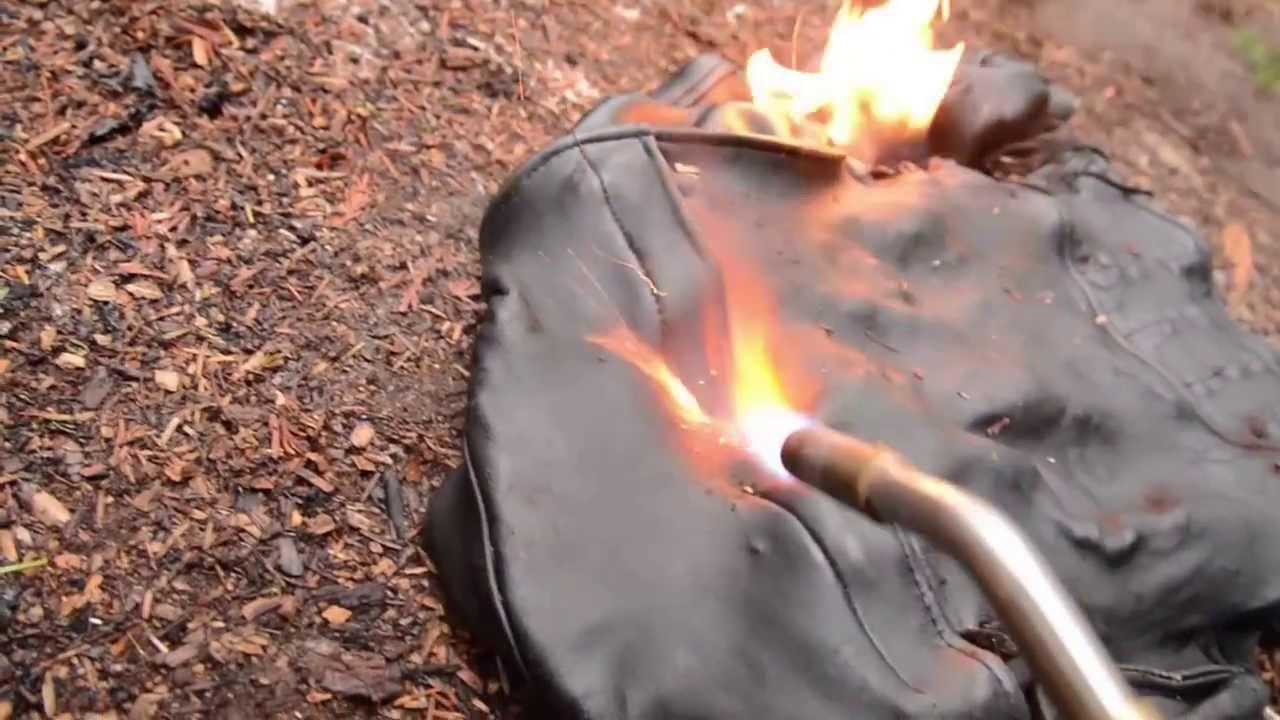 leather biker jacket stomp n burn - YouTube