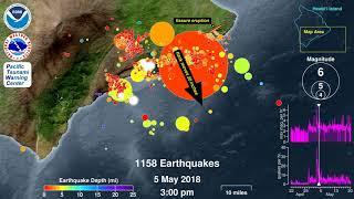 Earthquake Animation: Kilauea Volcano 2018