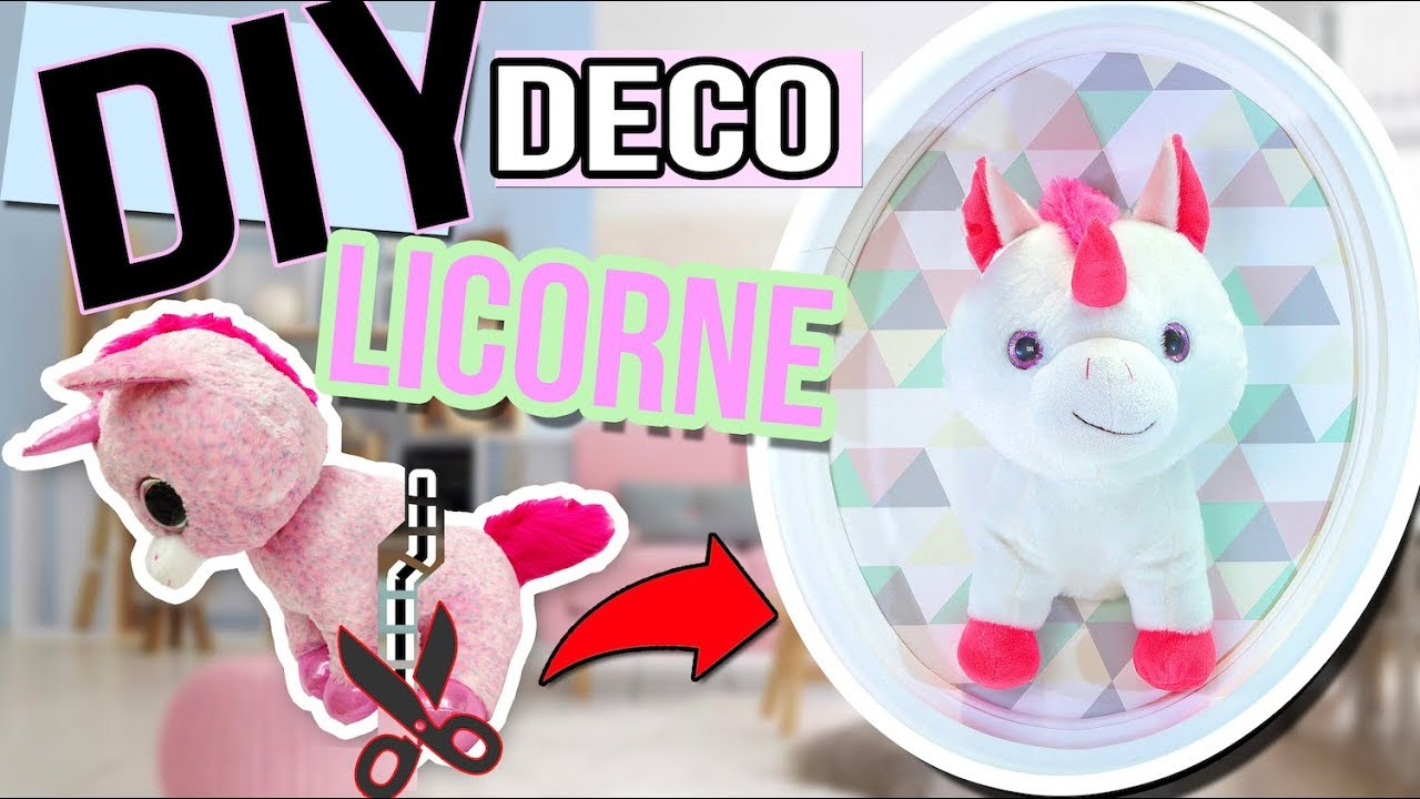 diy facile deco licorne un trophee licorne kawaii recyclage recup unicorn stuffed. Black Bedroom Furniture Sets. Home Design Ideas