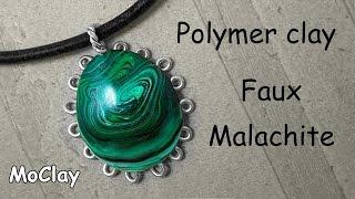 Faux Malachite polymer clay tutorial - cabochon frame.