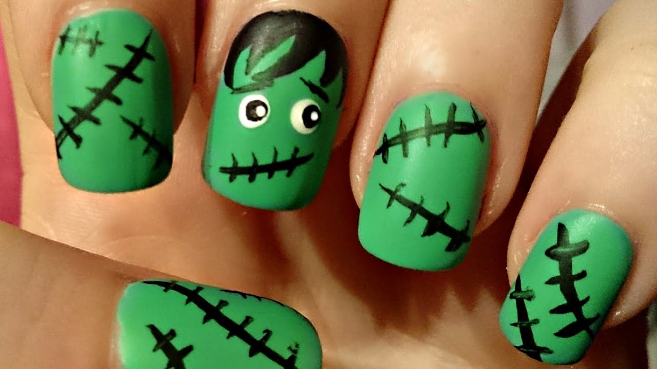 halloween frankenstein nail art