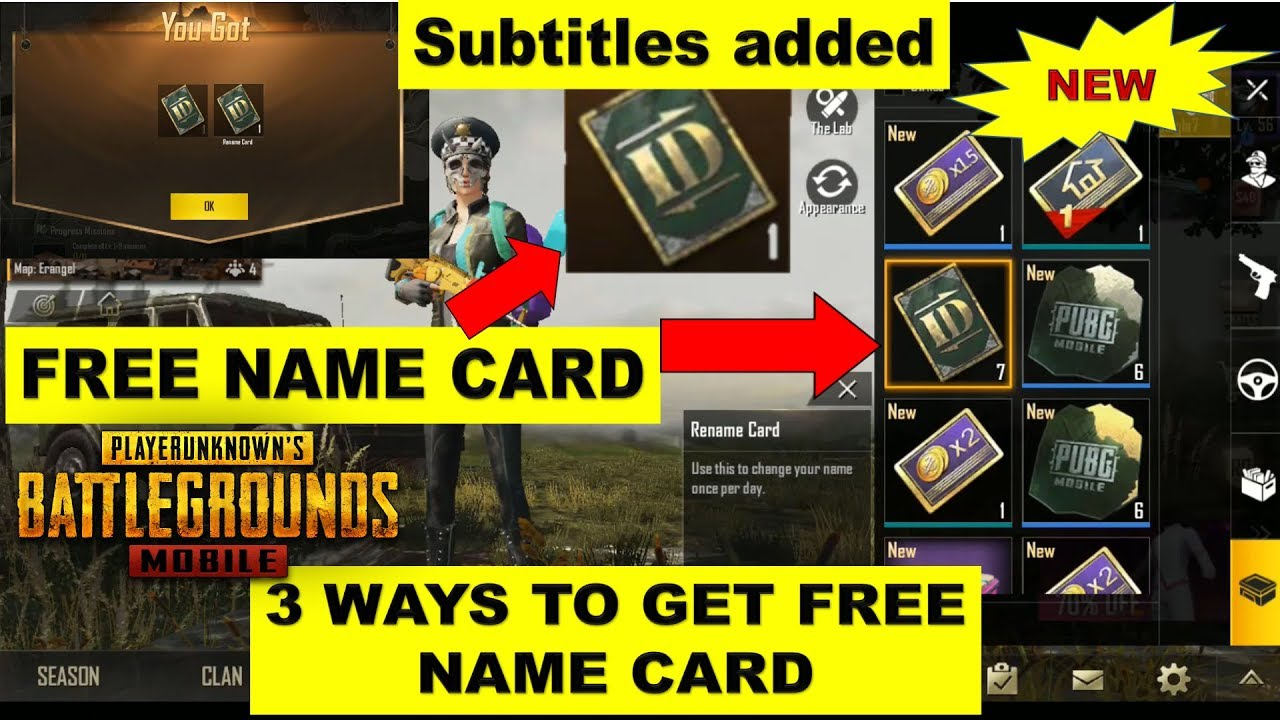 How To Get Name Card Pubg Mobile | Change Name In Pubg Mobile | 3 Ways