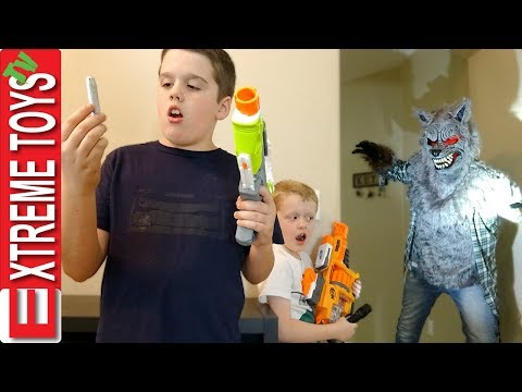 A Werewolf in the House! Nerf Blaster Shootout Attack! Ethan and Cole Vs Vicious Wolf Man