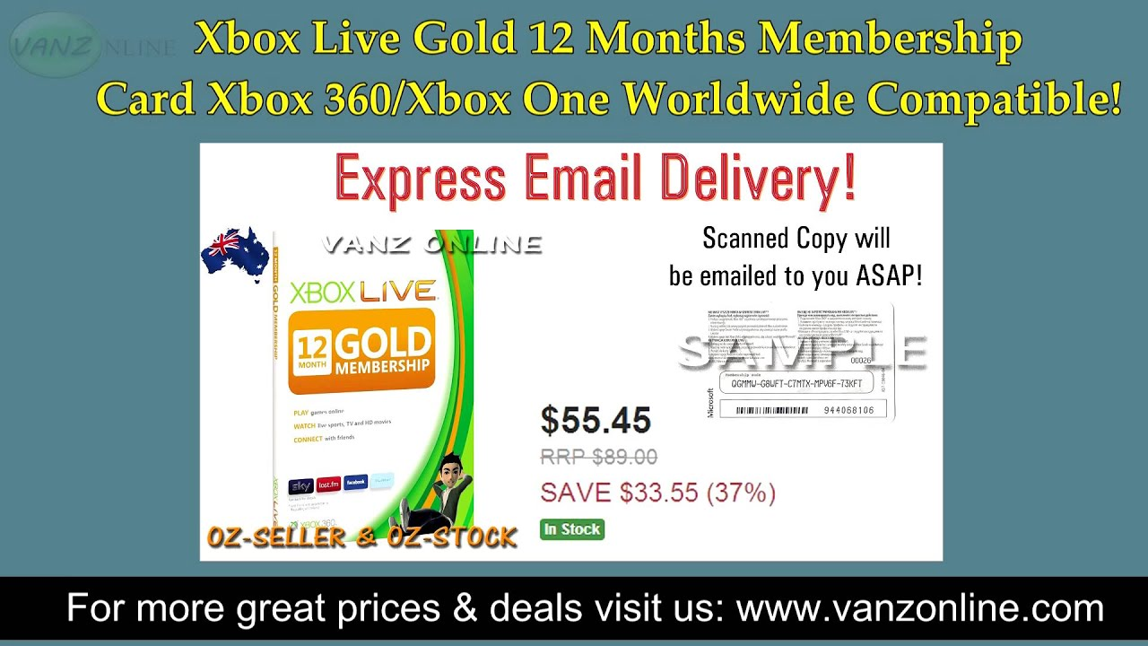 Xbox Live Gold 12 Months Membership Card 360